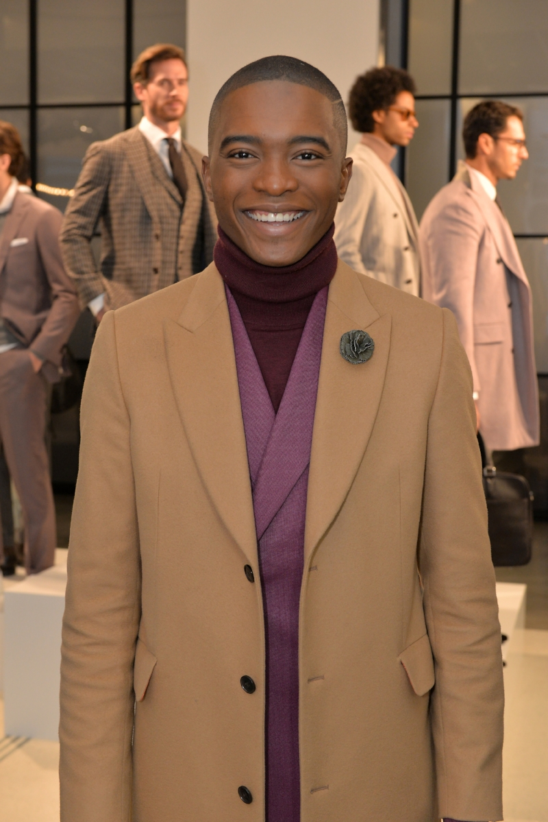 Igee Okafor attends Suit Supply NYFWmens FW18 in Fleur'd Pins' Olive Leather Carnation 2.5.18 - photo by Andrew Werner.jpg