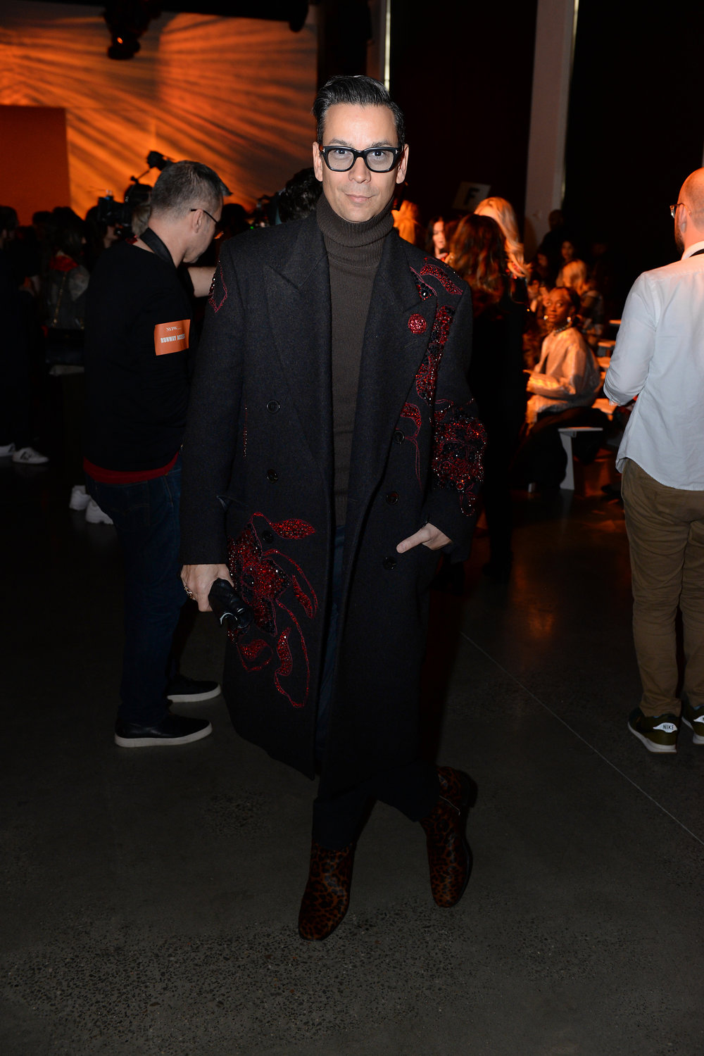 James Aguiar, Fashion Director and VP of Creative for Modern Luxury attends Naeem Khan NYFW FW18 on 2.13.18 wearing Fleur'd Pins Red Glitter Rose - photo by Andrew Werner.jpg