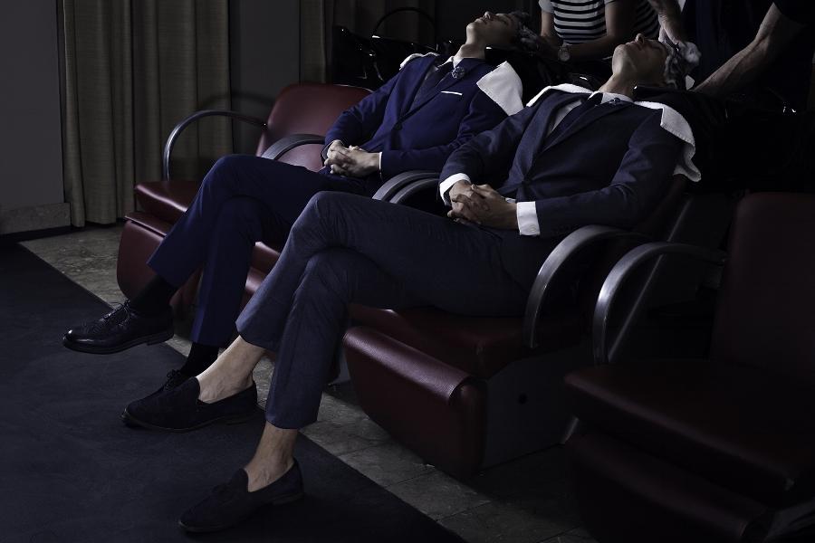 Left to right:Suit: Selected Homme ,  Tie: Louis Vuitton ,Shirt: Daniel Hechter ,  Shoes: Fratelli Rossetti  Sox: Tommy Hilfiger ,  Boutonnière: Fleur'd pins ,  Suit: Todd Snyder ,  Shirt: Gant ,Tie: Tommy Hilfiger, Shoes: Zara ,Boutonnière: Fleur'd Pins