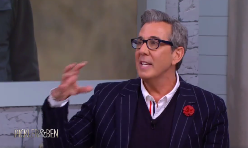 Image consultant and author George Brescia wearing Fleur'd Pins on Pickler & Ben, February 26th 2018 - Red Leather Dahlia.png