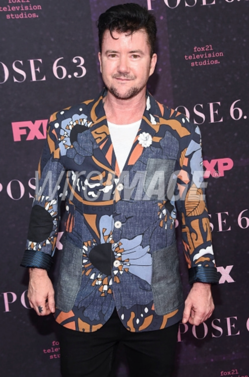 Silas Howard attends the New York premiere of FX series 'Pose' at Hammerstein Ballroom on May 17, 2018 in New York City wearing Fleur'd Pins White Leather Dahlia .png