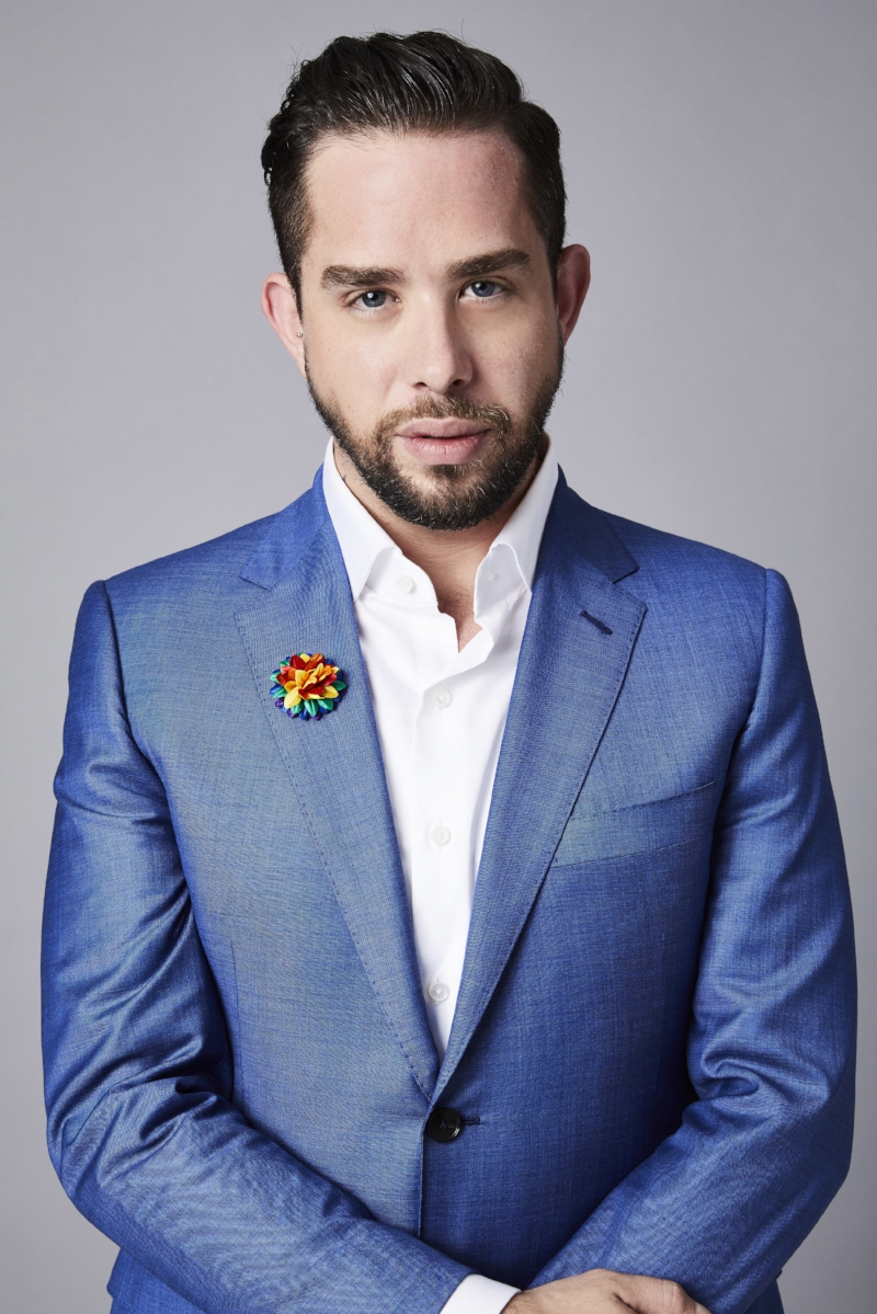 Adam Mansuroglu, Men's Style Editor of BestProducts wearing Fleur'd Pins PRIDE Fleur.jpg