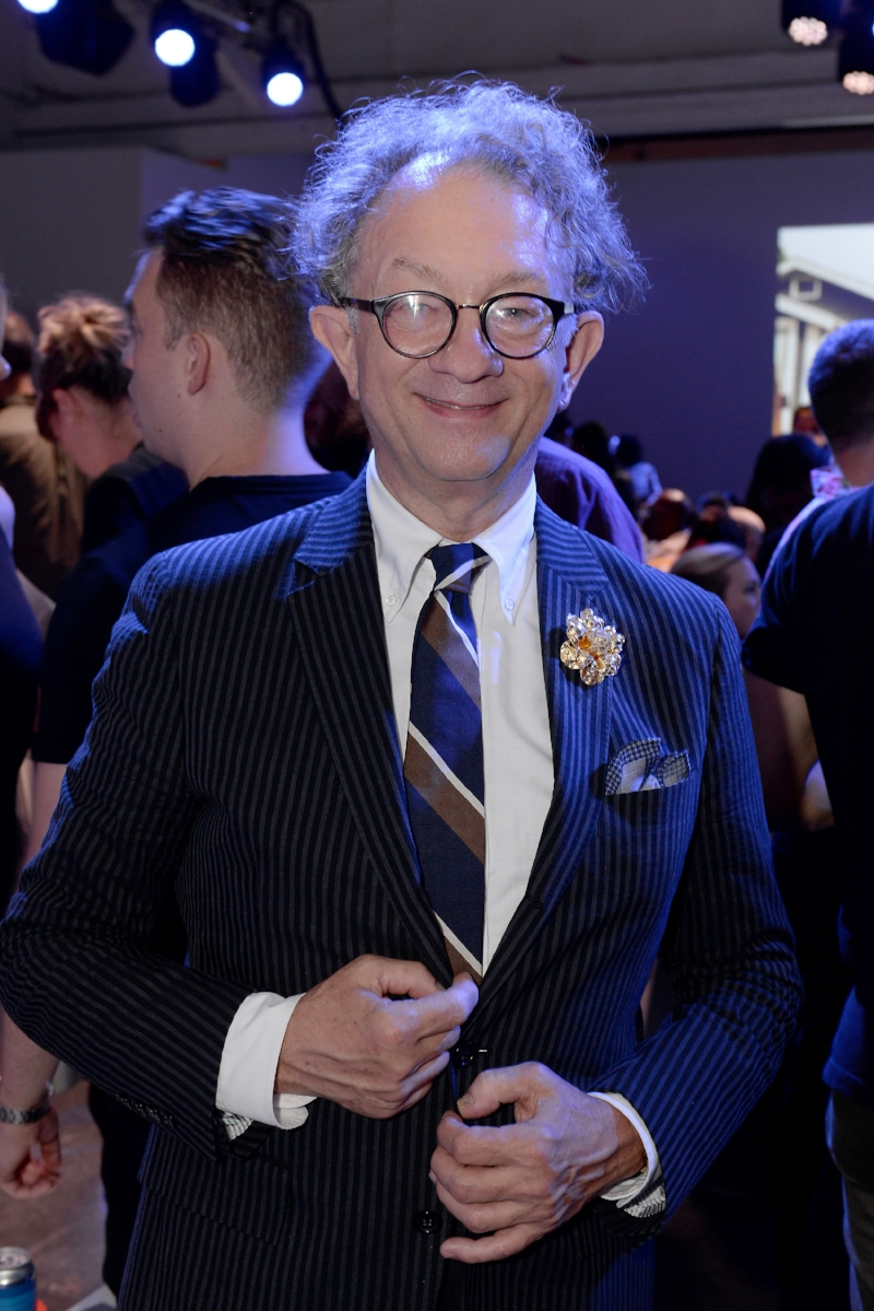 William Ivey Long wearing Fleur'd Pins Gold Python Gardenia at Todd Snyder NYFWM 7.11.18 - photo by Andrew Werner.jpg
