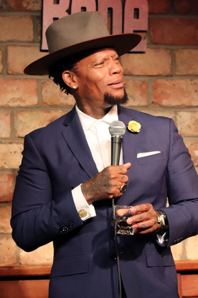 D.L Hughley wearing Fleur'd Pins Buttercup Snakeskin Cabbage Rose 2.jpg