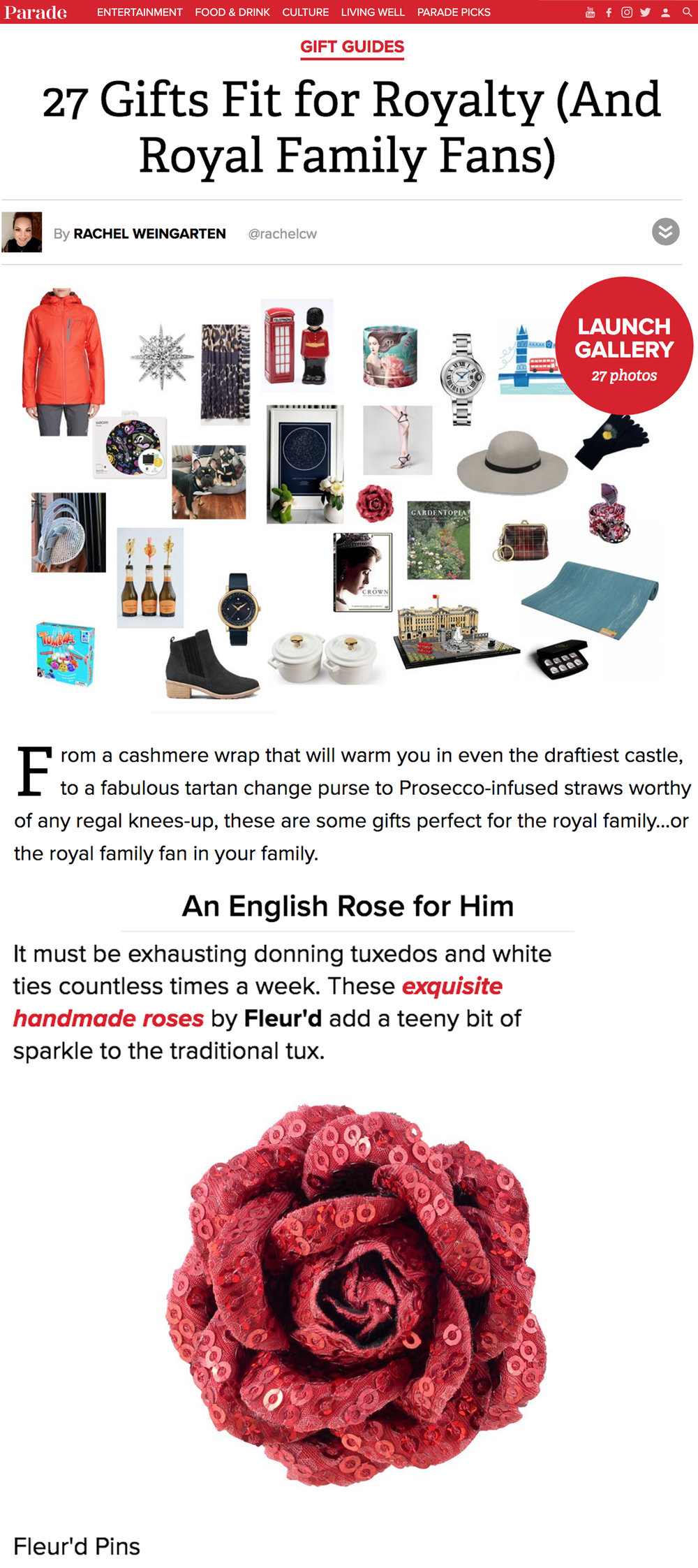 PARADE Magazine Gift Guide featuring Fleur'd Pins - January 2019.jpg