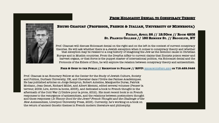 From Holocaust Denial to Conspiracy Theory: A Lecture w/Bruno Chaouat (Professor, French & Italian, University of Minnesota)