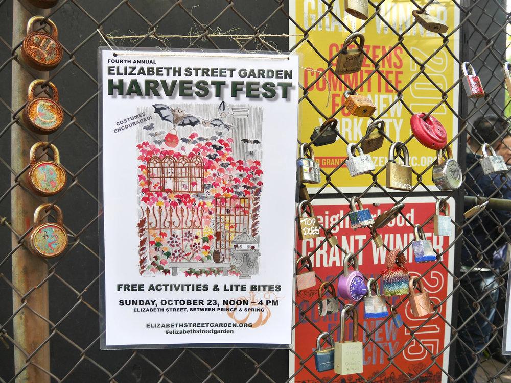 HARVEST FESTIVAL POSTER    FOR ELIZABETH STREET GARDEN