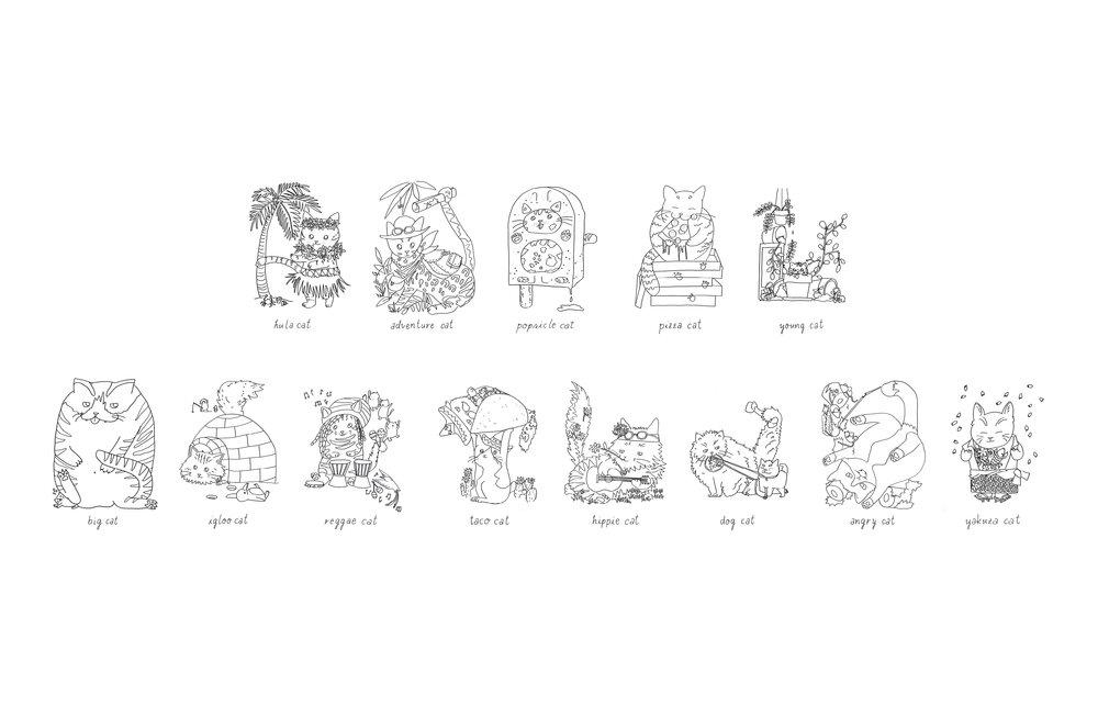 Cat Abcedarium Birthday Coloring Card Materi
