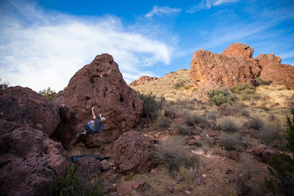 Bouldering in Box Canyon, NM. Photo by Aly Nicklas