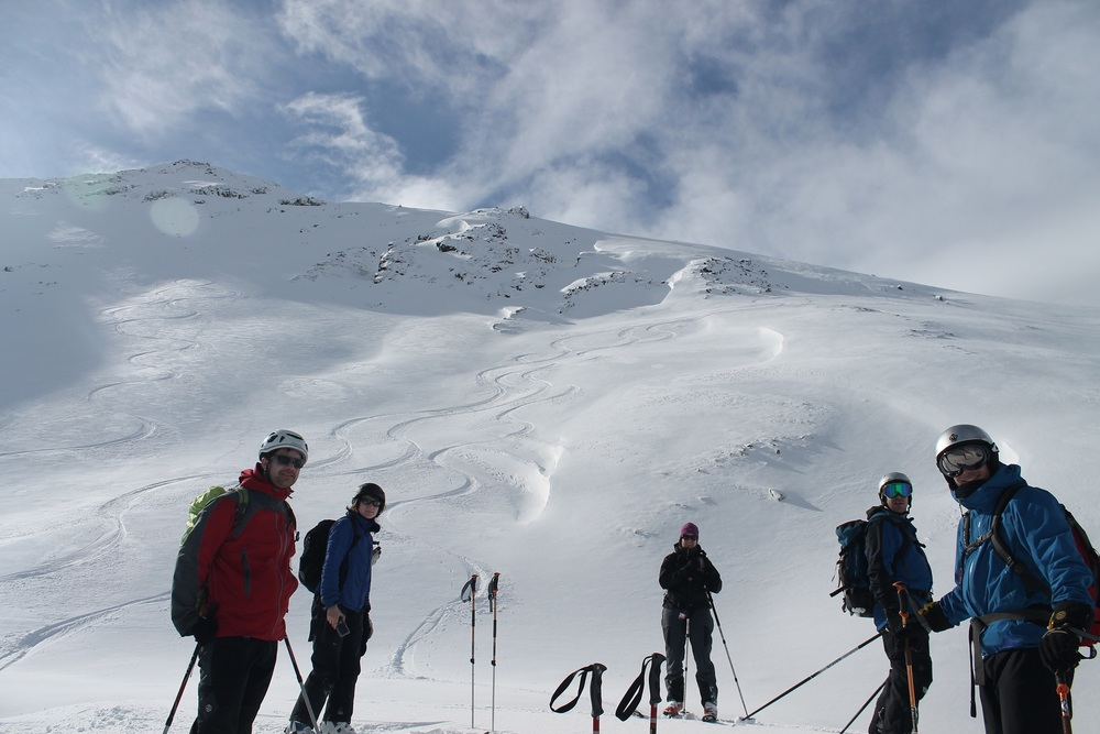 Ski touring the Two Thumbs Range, Mackenzie Country.