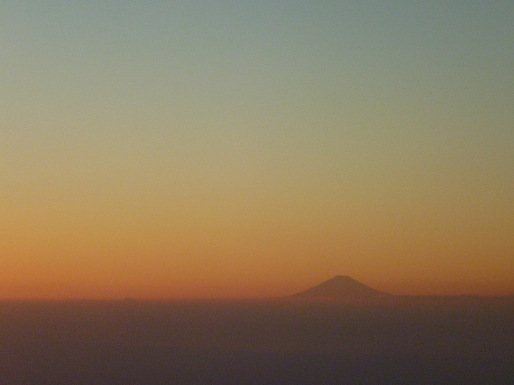 Mt. Fuji on sunset when flyng into Tokyo.