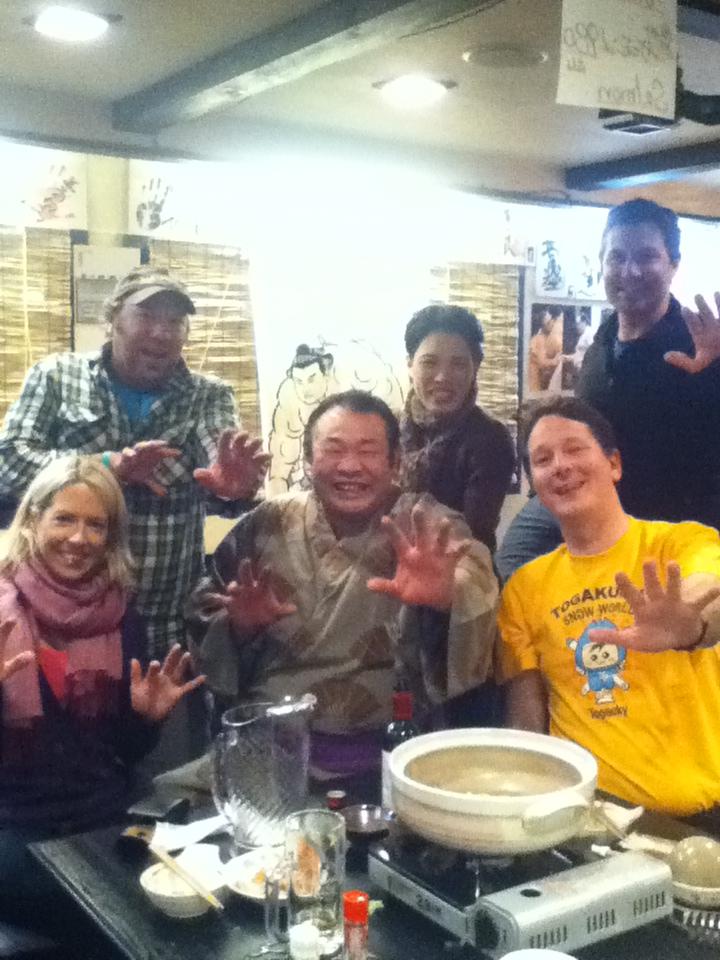 Hanging out at the ex-Sumo wrestler's restaurant, Echoland, Hakuba.