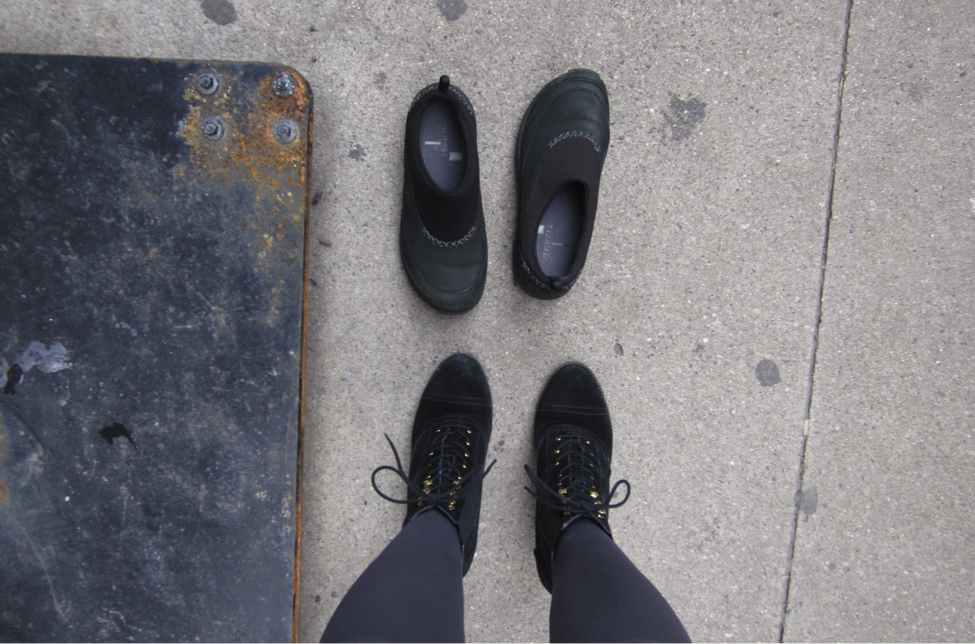 Abandoned shoes found in Downtown, Manhattan, pictured with Tommy Hilfiger brand shoes.