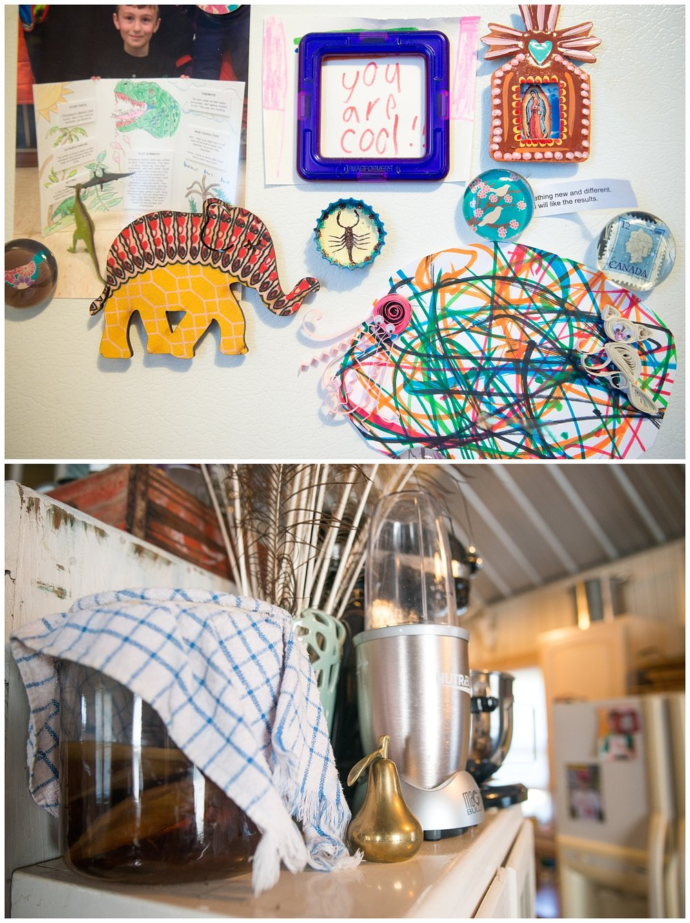 Kitchen goodies - I found the Canada stamp magnet at an awesome shop in Minneapolis called Shop Junket.  Anytime I find a Canada anything I have to give it to her and Trevor.  They've got to hate me by now.  And that jar of something on the left?  That's her kombucha brewing.