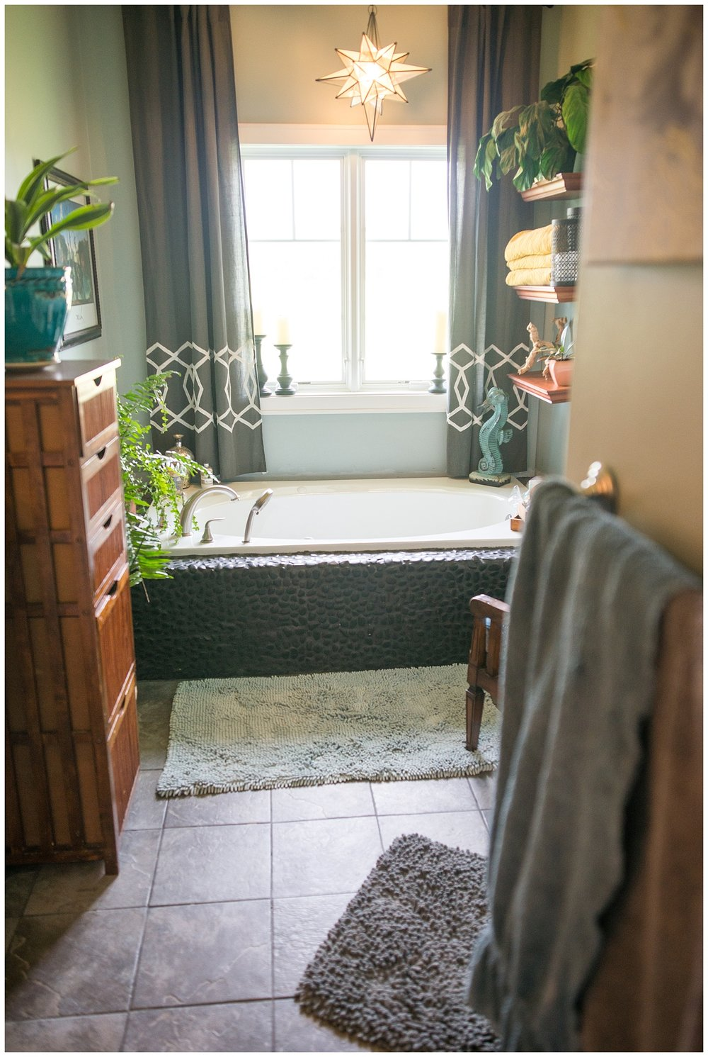 I had no idea this spa-like en suite existed until we did this photo shoot.  Pretty sure I could live out my days in just her bedroom and bathroom.  That fabulous black rock tub?  They did it themselves.  These two are legit DIYers.