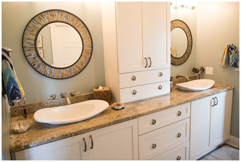 Rounding out her bathroom tour is this beautiful vanity situation.