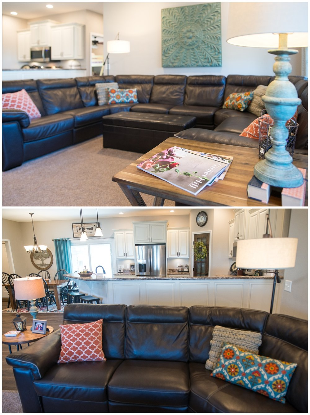 Walk through the front door and end up in Elizabeth's well laid out living room with a perfectly fitting wrap around leather couch. The TV is wall mounted to the left.