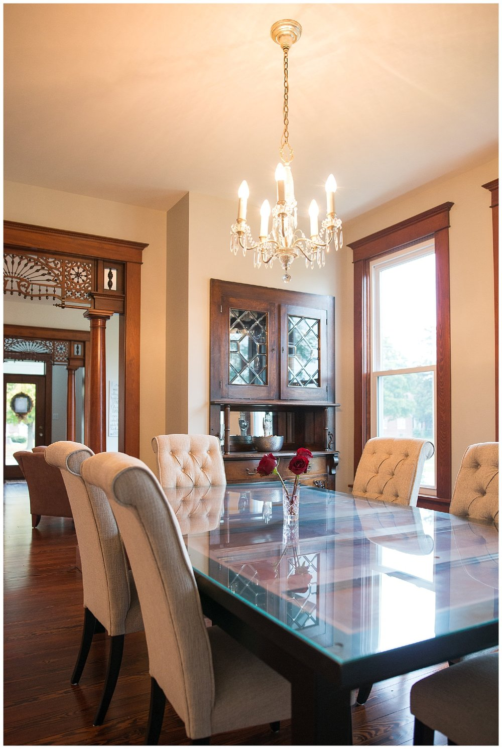 Leslie took a pocket door which was removed to make way for a built-in and had it turned into her dining room table.