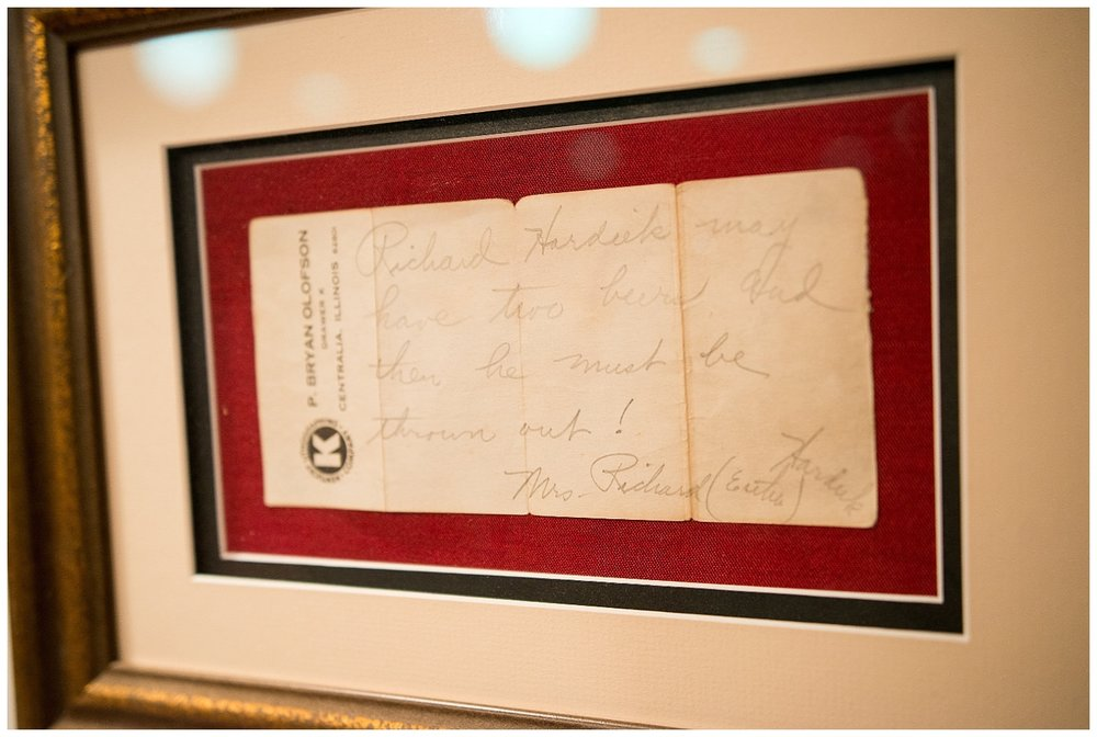 Read closely.  What a fantastic glimpse into the past.  Rich's twin sister, Lori, framed this handwritten note their grandmother wrote to nearby  Kenter's Tavern  regarding her husband.  This might be one of my favorite things in this home.