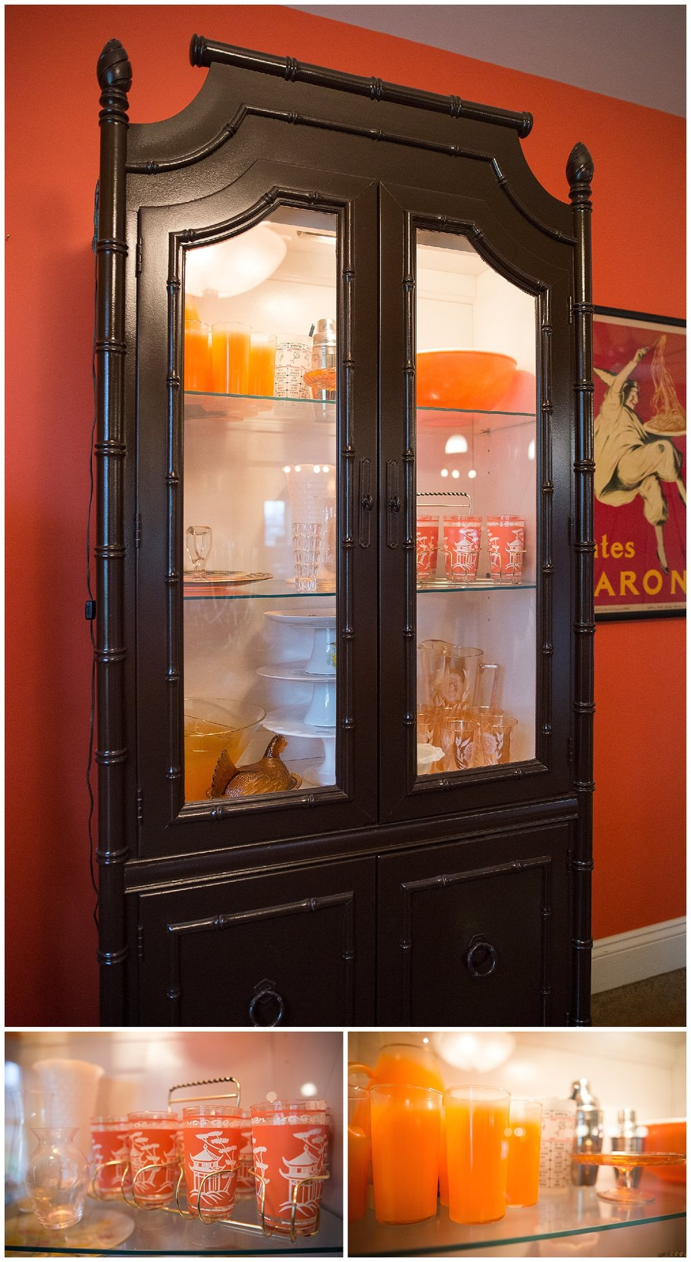 The painted bamboo china cabinet is one of Maria's many fabulous found objects and she's filled its glass shelves with choice vintage serveware pieces in orange, chrome (see those cocktail shakers in the back?), amber glass (cake platter), clear glass and the most beautiful collection of cake stands.   Check out how it all pops thanks to the cabinet's light.