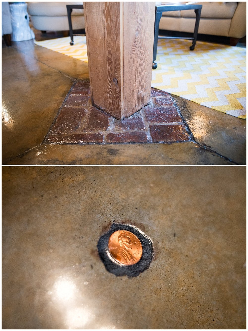 Nope, not brick.  Concrete.  A bubble appeared in the floor so they turned it into a feature by adding the penny.