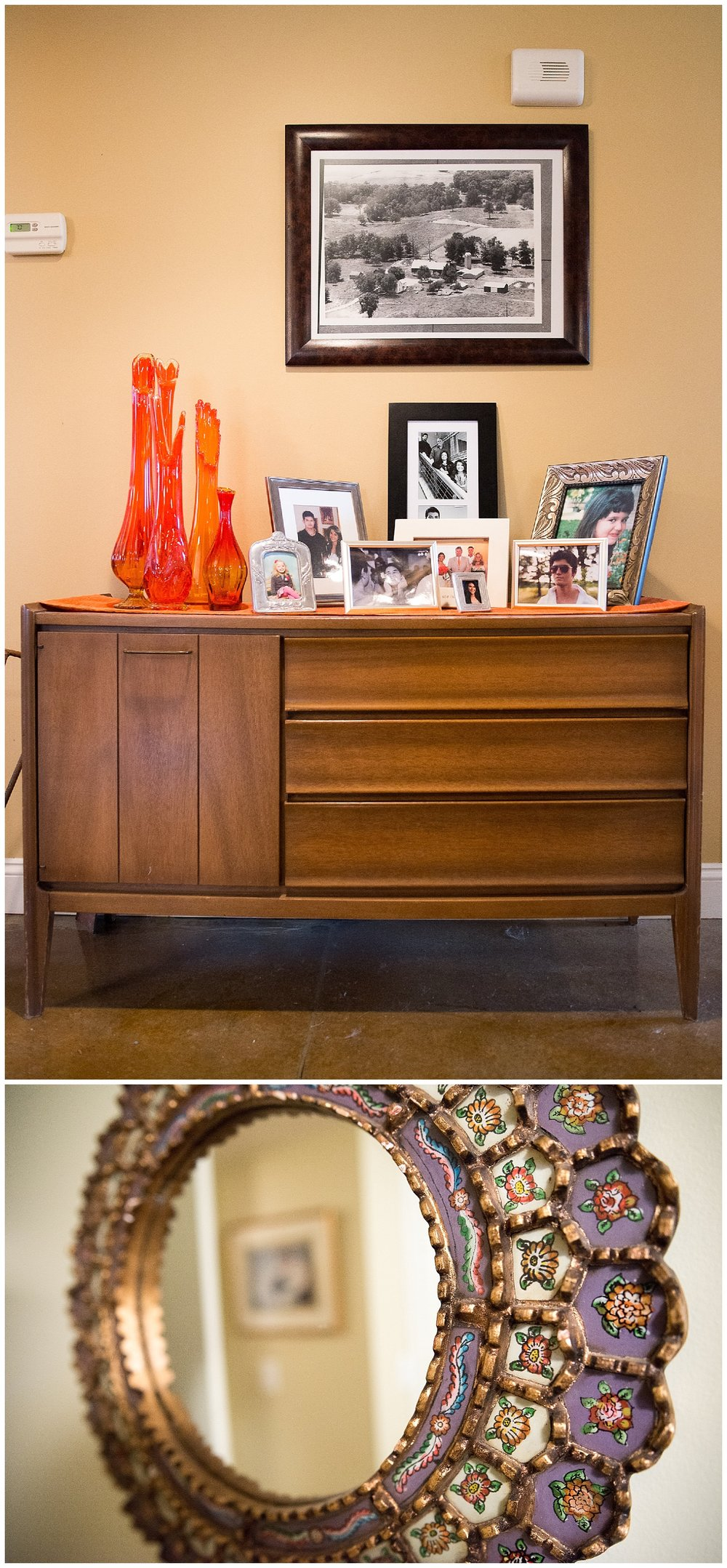 Maria loves family photos and frames.  Above the mid century dresser hangs an aerial photo of the farm and to the left is a collection of vintage swung glass vases.  The round mirror with the floral detail came from Peru.