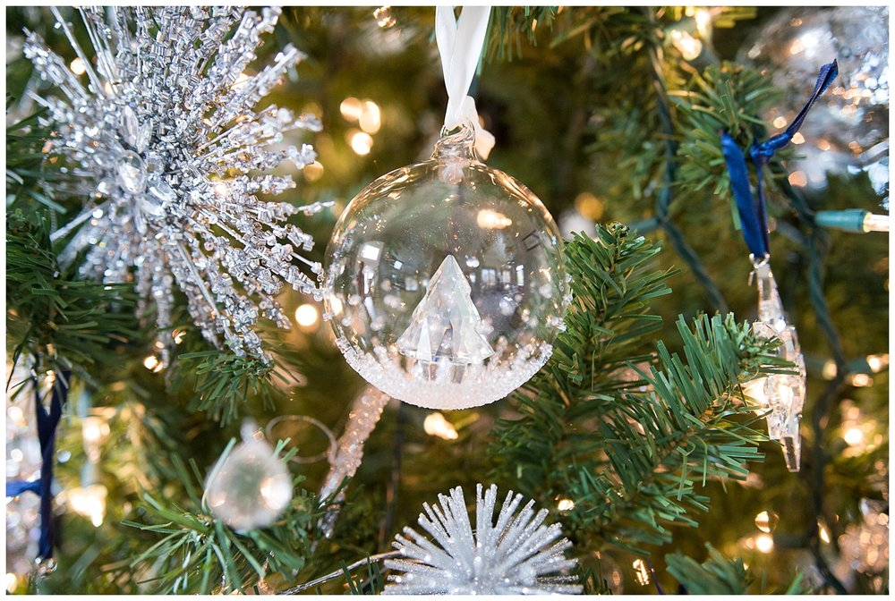 The tree is laden with beautiful Swarovski ornaments she's been given over the years.