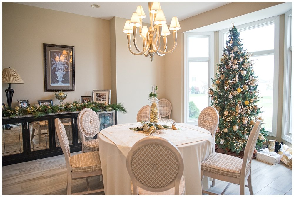 The Gold Tree resides in the dining room with Patty's favorite thing in her home - her buffet.  These are the chairs that she transformed from restaurant dining chairs to these magazine-worthy numbers.