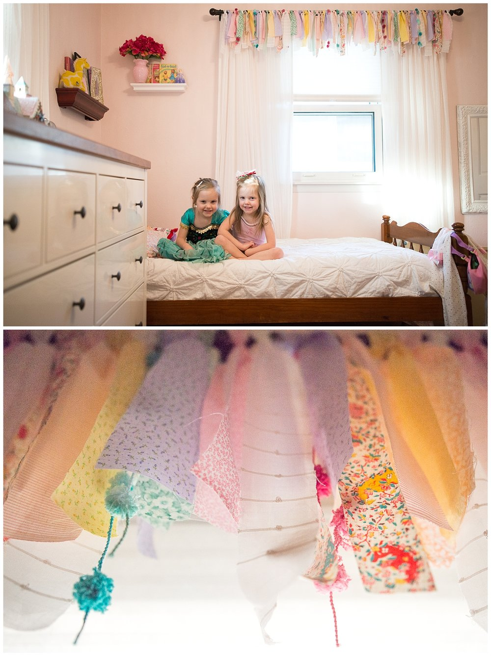 Here are the adorable occupants of this room – Clara and Anna.  Christy incorporated fabric from her great grandmother's housecoat (the colorful fabric) to make the girls' valance.