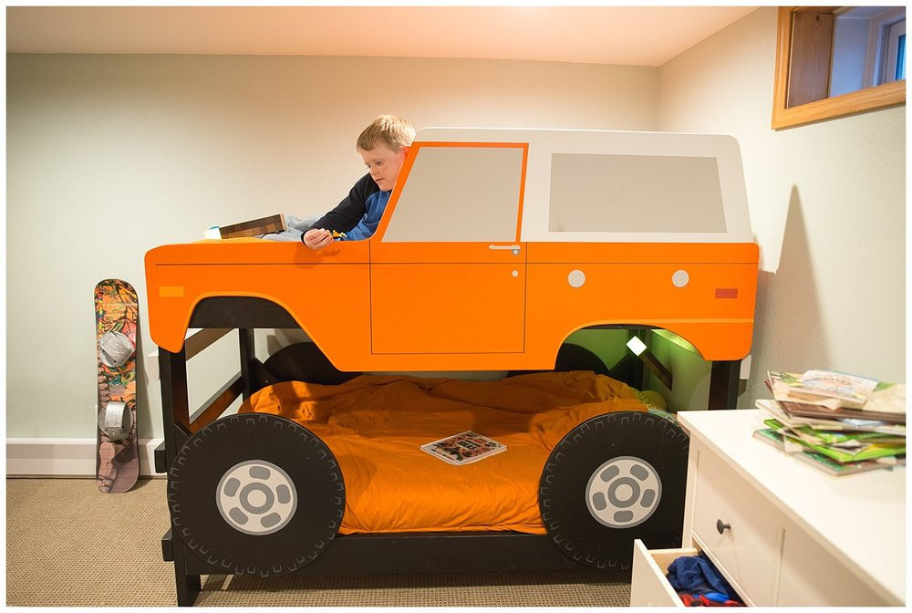 "This bunk bed is what little boy dreams are made of.  Kevin calls it a ""Hiatt Man Project"", as Kevin, his dad Steve and brother Aaron created this scaled-down version of a Ford Bronco."