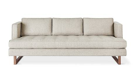 Aubrey Sofa in Leaside Driftwood with wood base