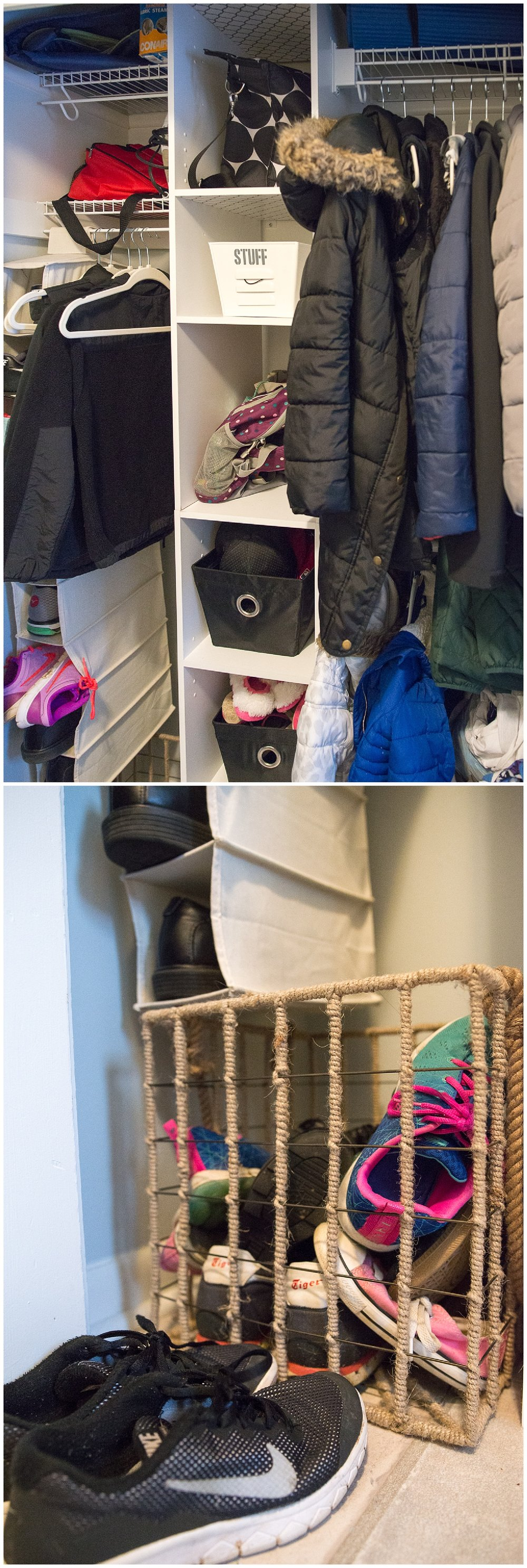 Around the corner from the kitchen is the laundry area.  Aaron single-handedly and only with a few fits of rage re-worked this closet by removing the doors and installing the closet system.  The wire and jute shoe basket came from Fresh Digs.