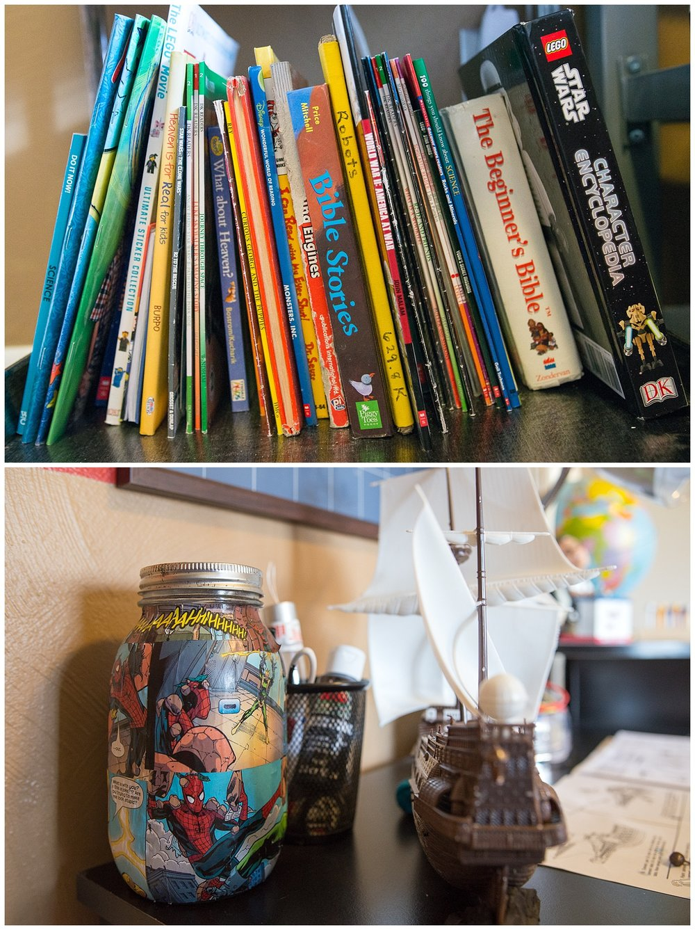 Gotta have books.  The decoupaged mason jar was a gift to Myles from Lily that she got from the school's Christmas store.  Here's the desk where the ship making magic happens.