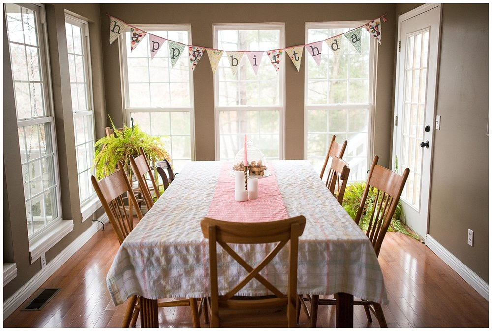 The Dining Room.  They recently celebrated Holly's birthday and yep, Helen made the happy birthday banner.  Her ferns overwinter in the dining room.  The dining table was given to her by her parents.