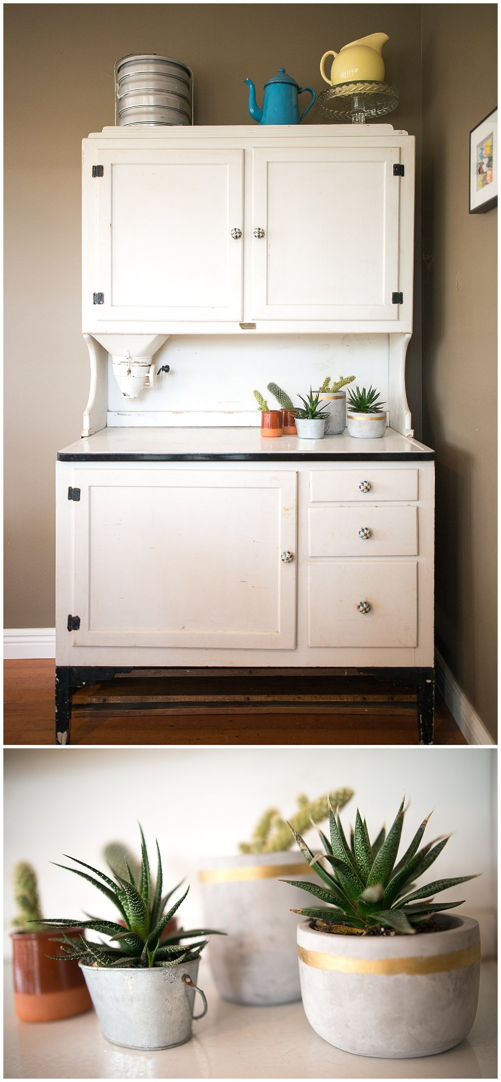 In the corner of the dining room sits the Hoosier cabinet that is one of Helen's favorite things. It was purchased at an antique shop when she and John got married and she added her own touch by changing the knobs.  The ceramic and gold pots came from Fresh Digs.
