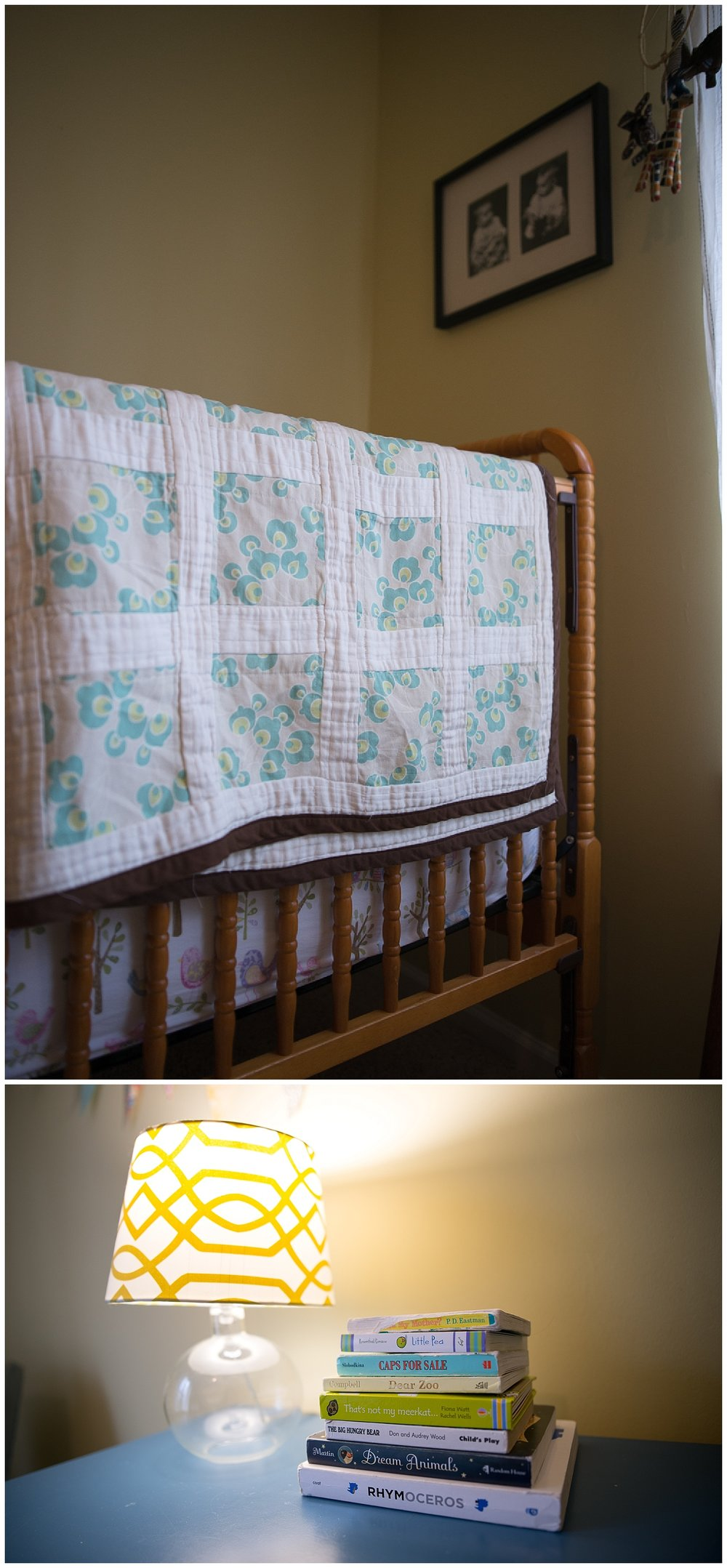 Helen made Holly's quilt and above the bed hangs a birthday present from her mom - a framed picture of Helen as a child.
