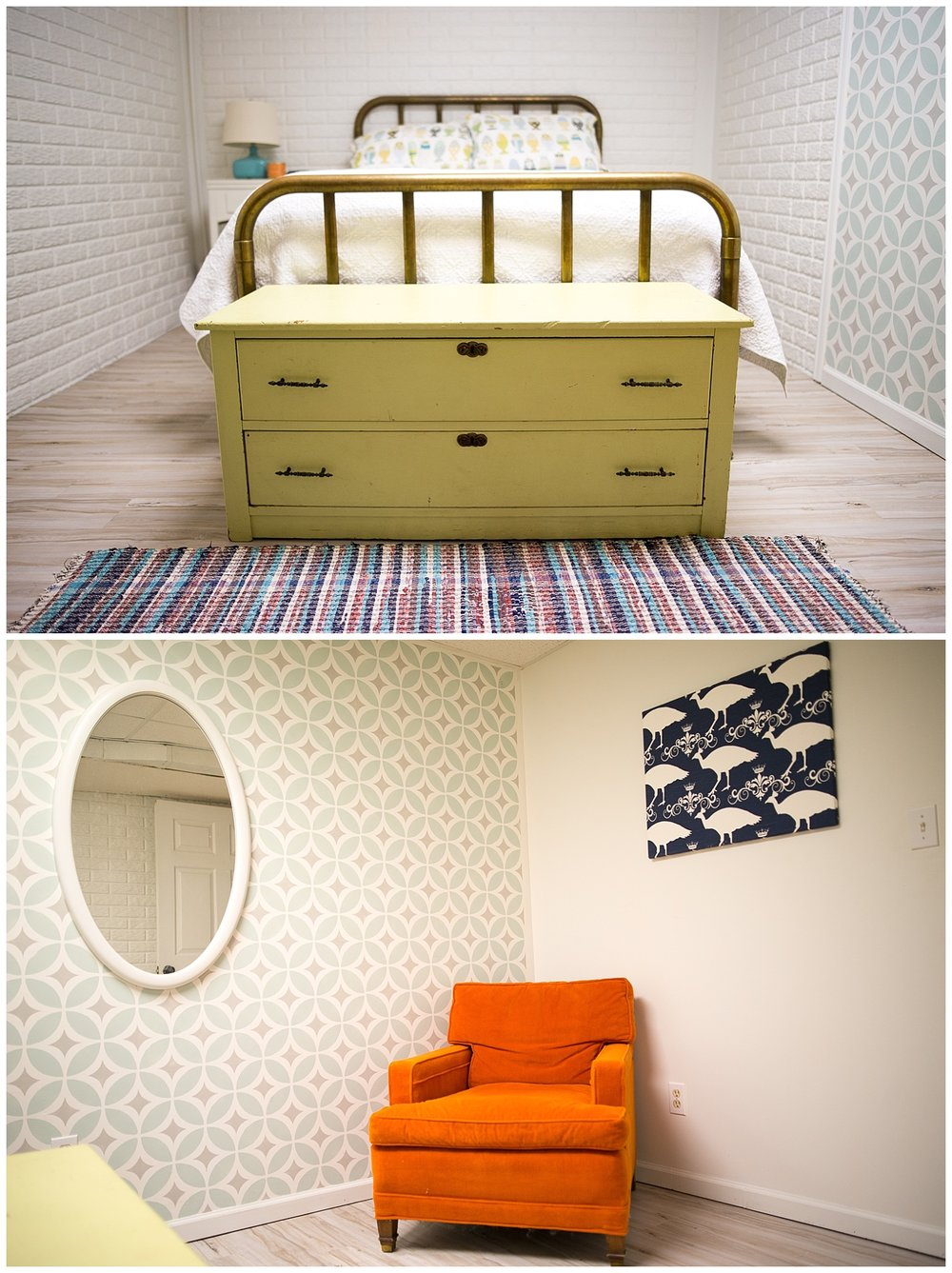 This room slays me.  Check out our  Instagram feed  to see some cool shots of Tytia in here.  The bed came from an antique shop and the dresser was her grandma's.  Helen did the wall stencil (she clearly has the patience of Job) and the fantastic orange chair came from an estate sale.