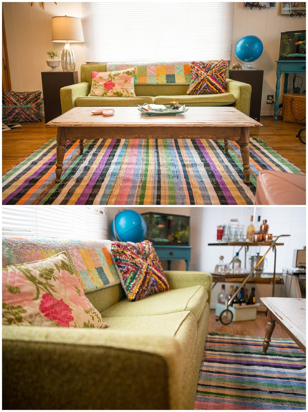 Walk into the Wilson home and you can't help but smile at all of the color and light. Their love for thrifting and travelling together has filled their home with many retro, found and funky objects. The green hide-a-bed sofa, rug, coffee table, bar cart and globe all came from Fresh Digs.