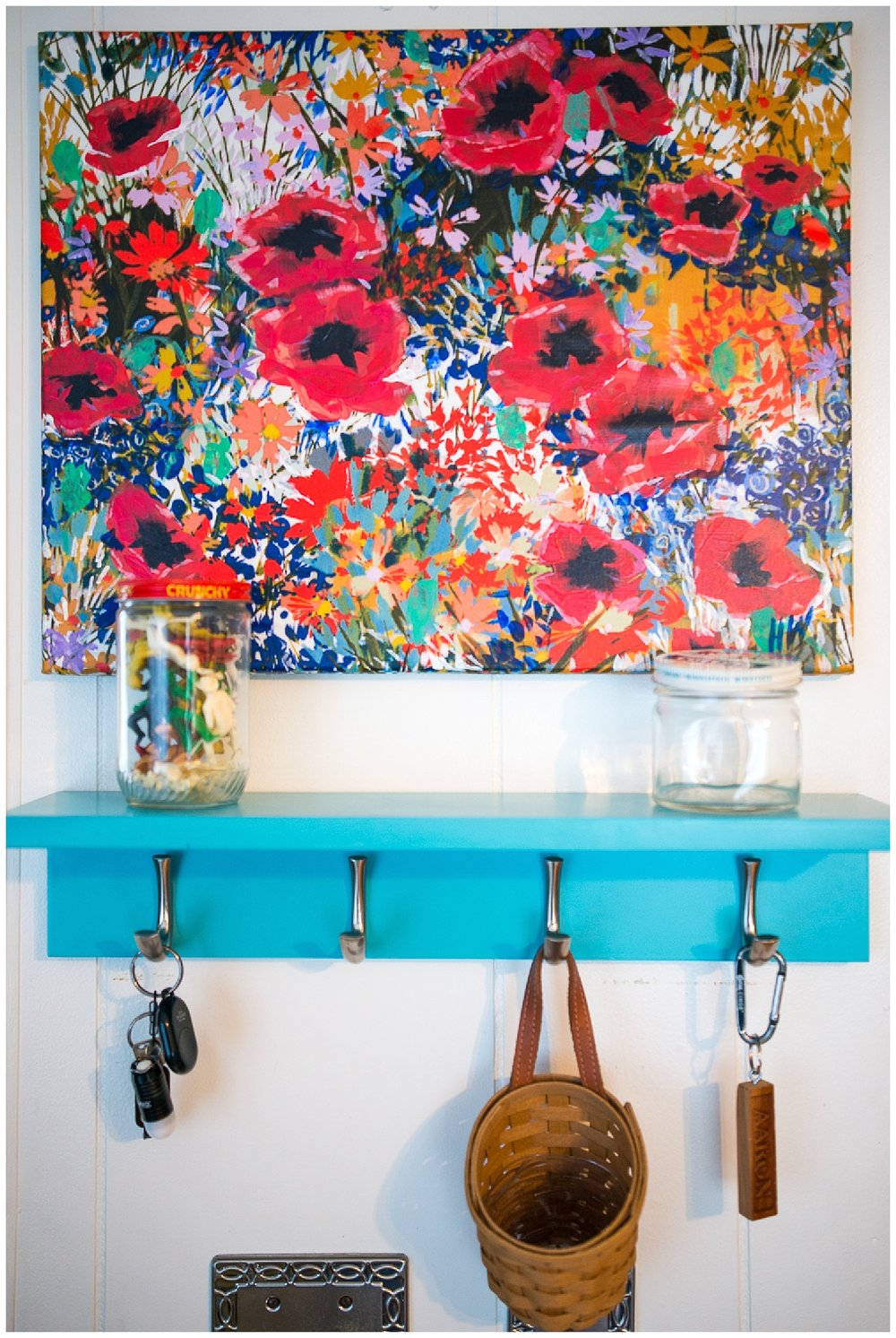 Bri got this piece of art by Heather Skavlem from Fresh Digs. The shelf with hooks is a great place to keep important items all in one place.