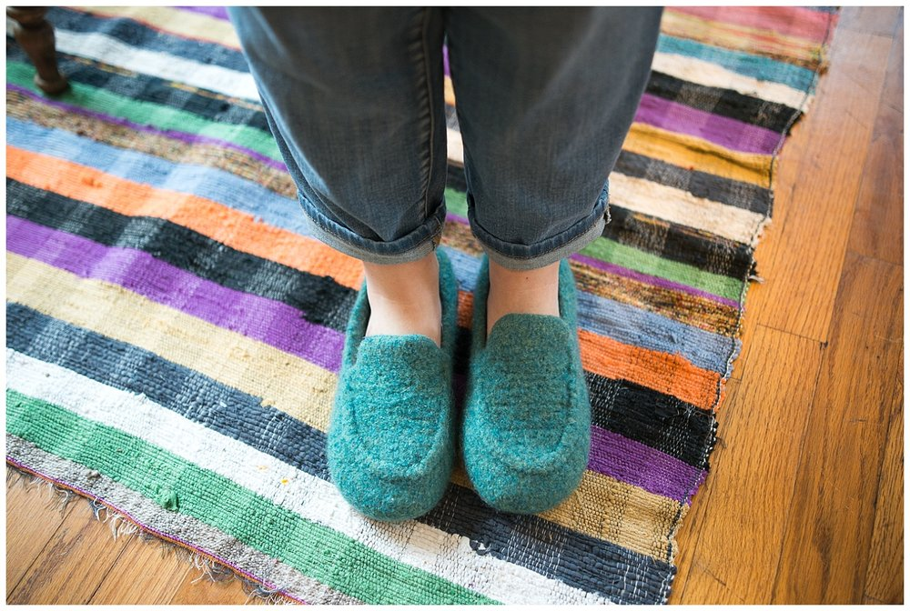 Bri's felted wool slippers, and those of every member of her family, were made by her master knitter sister, Amber Lindemann.  If you're into knitting and/or skanky rescue dogs named Kevin then be sure to check out her Instagram feed @yarnhoarder and now her YouTube channel.  I don't knit, but I love to see her hilarious personality come through in her posts.  Seriously, check it out, she has electronically tapped into the knitting world.