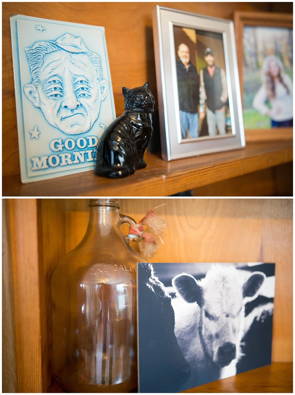 The Good Morning card Aaron found while on vacation and it's one of his favorite finds. The calf picture was gotten at the Pioneer Woman's shop during Bri and her sister's trip to Oklahoma to meet her.