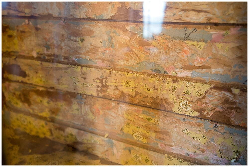 Layers of old wallpaper on wood they were stripping for a customer.  Rick says it's since been stripped and the wood underneath is even more beautiful.