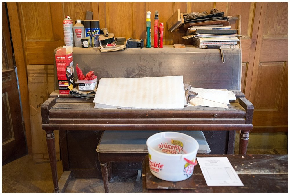 This is a Wurlitzer piano gotten from a local church.  Rick had begun taking it apart for scrap.  HIs then eleven year old son had other ideas.  He put it back together and taught himself how to play.  See what I mean about stories.  This is just the tip of the iceberg.