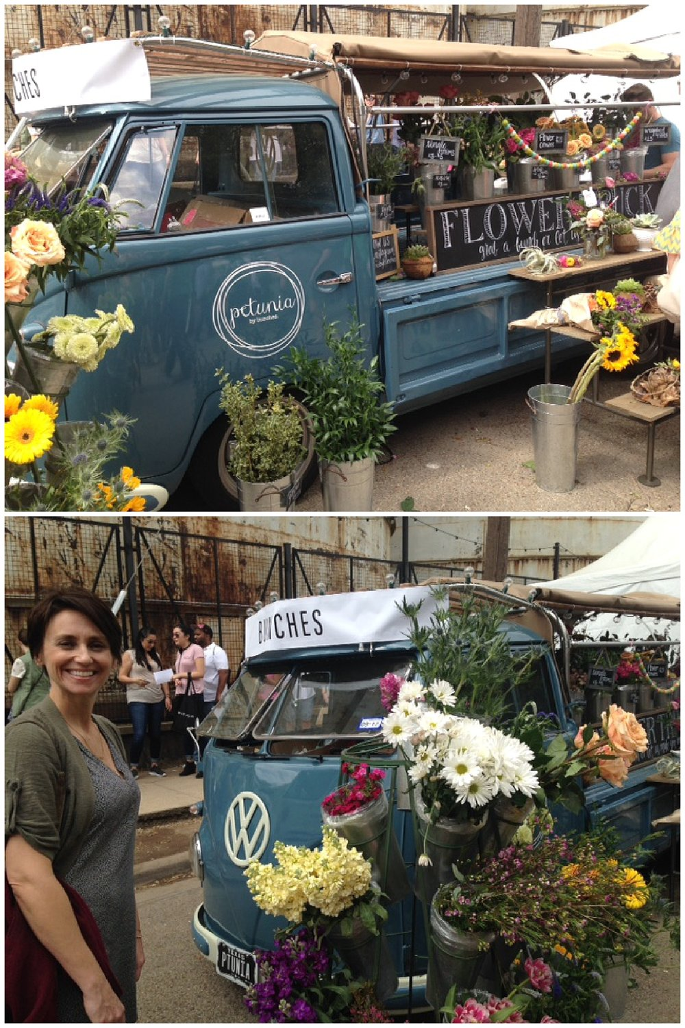 Check out this VW bus/flower cart!  Pretty as a picture.  Who needs a little white tent when you have Petunia the VW minibus?