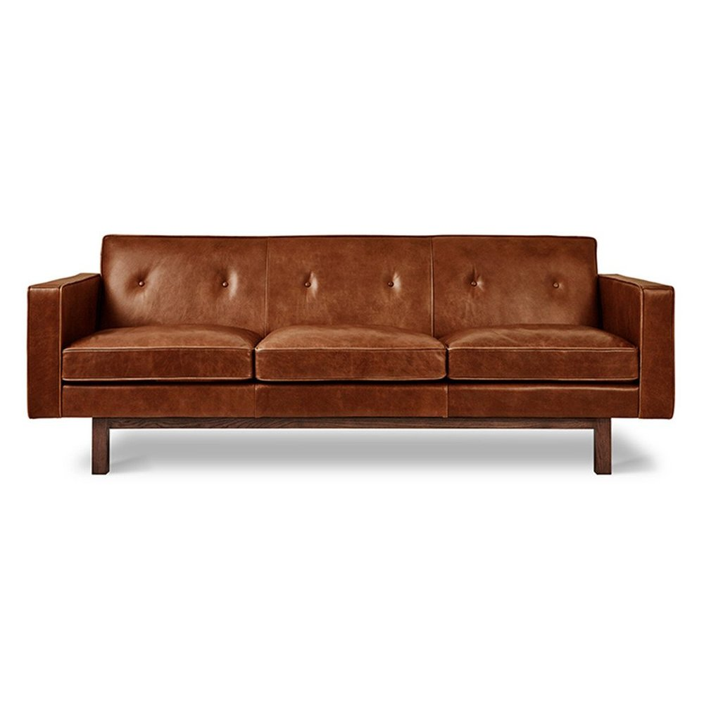 Gus* Modern Embassy leather sofa in saddle brown