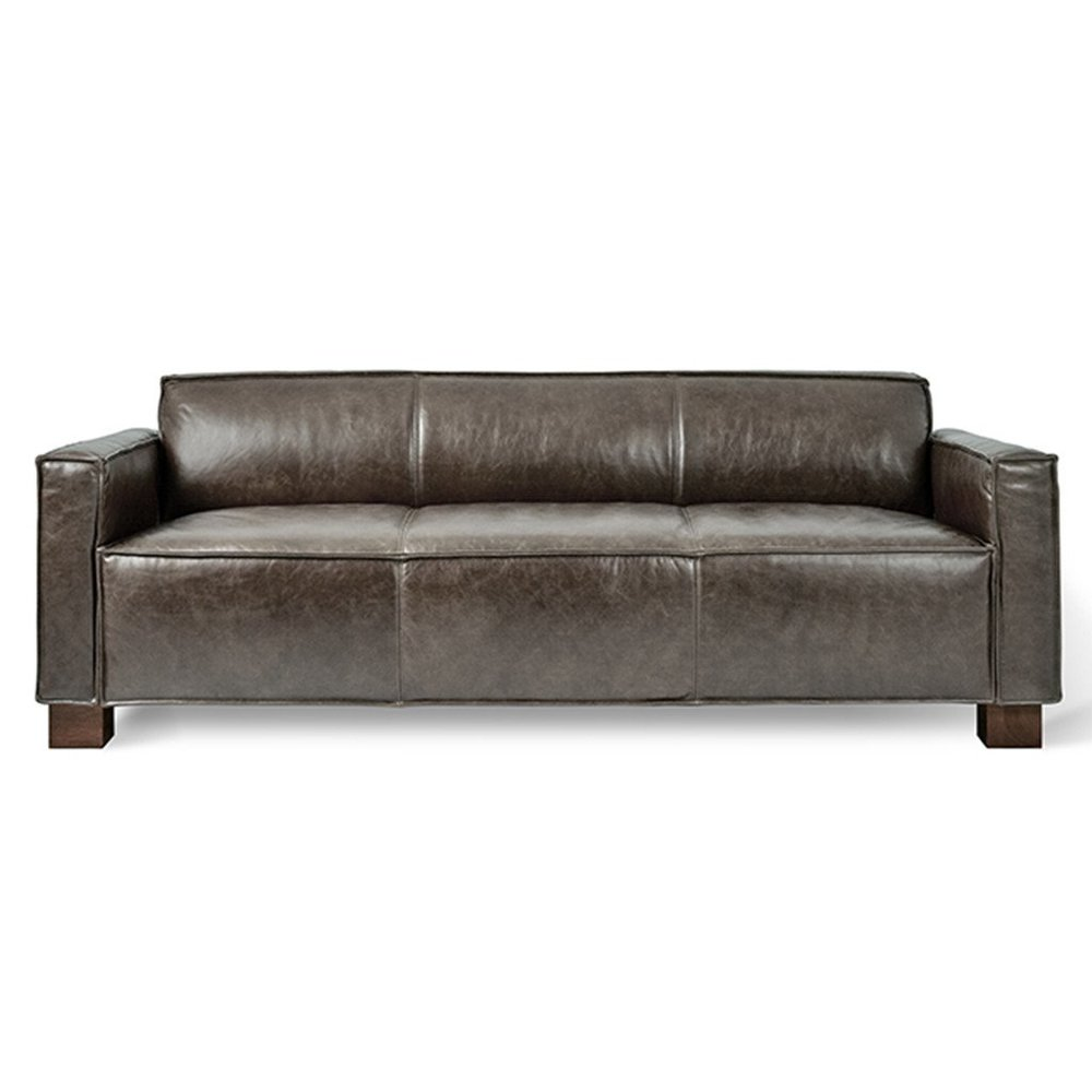 the gus* modern cabot leather sofa in saddle grey