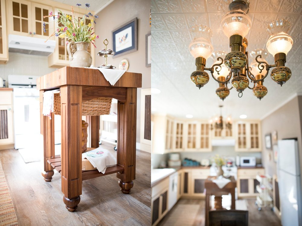 Left:  The kitchen was designed around this  Boos  block her father gave her as a sign of appreciation to her for helping care for her mother.  Bottom:  The kitchen is nothing short of a masterpiece of thoughtful repurposing and reusing.  The vintage ceiling lights came from a building that now houses her daughter's business,  Integrated Therapy Services .