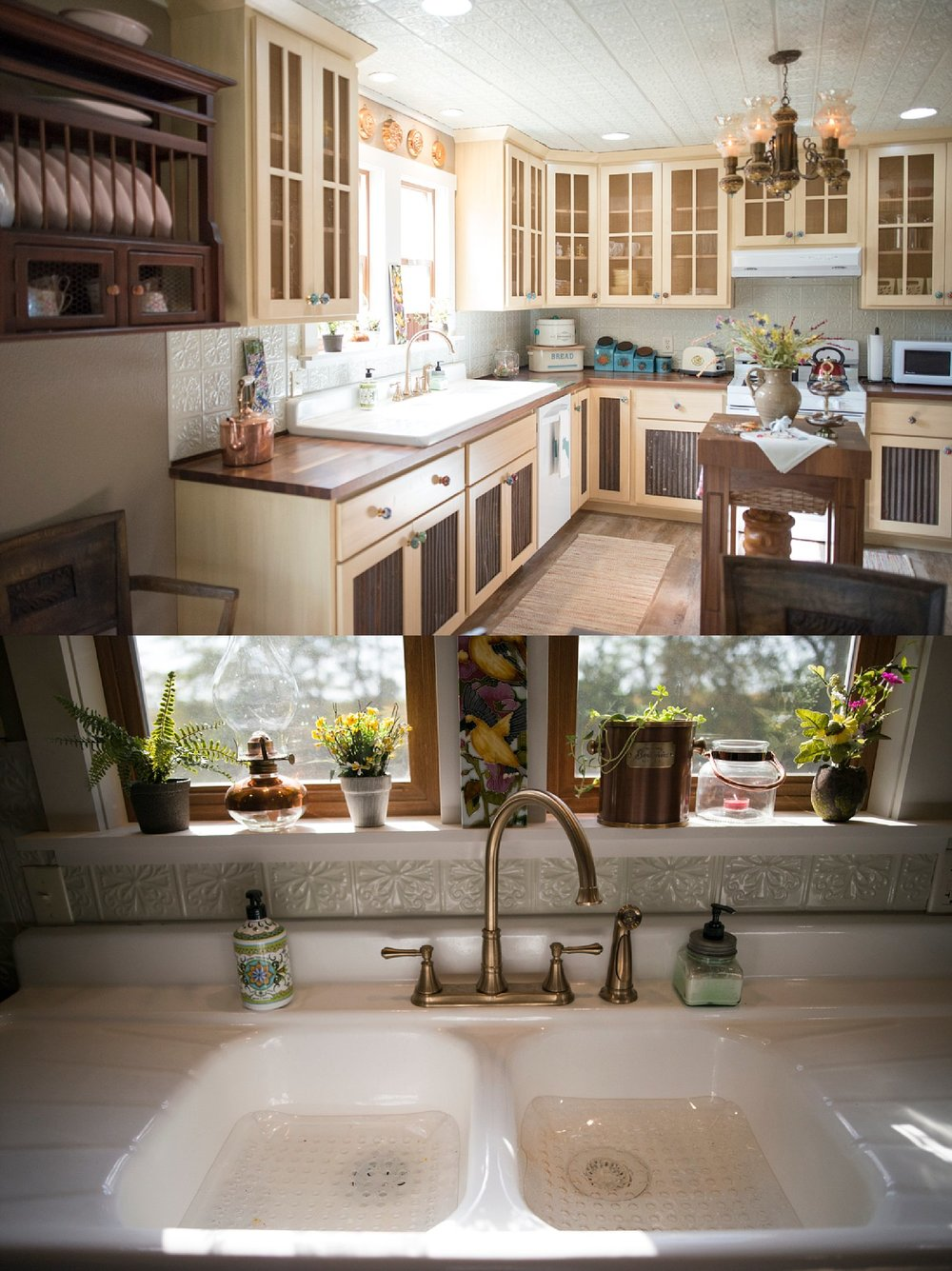 Top:  The screens in her kitchen cupboards are her pride and joy.  She had old tin from her family farm inserted on the bottom and up top she utilized copper screen wire that her dad had saved.  Bottom:  The kitchen sink came from an old house that was torn down.  Since it was full of raccoon poop and in pretty bad shape when she found it, she had it recovered.