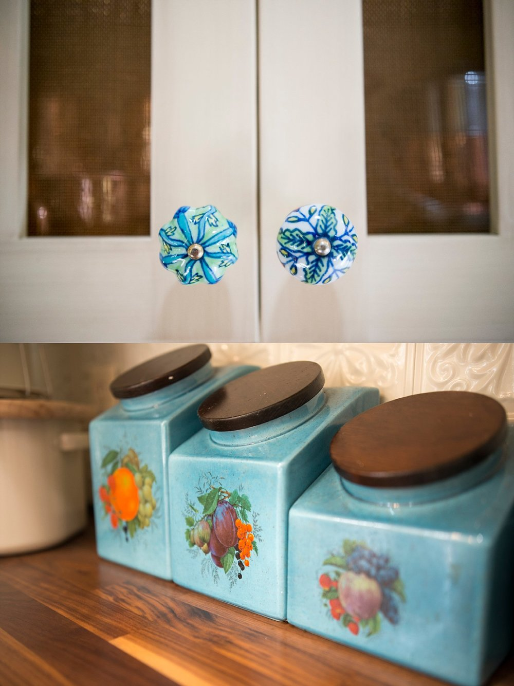 Top:  Funky knobs and the copper screen behind it.  Bottom:  These canisters were from her hope chest.