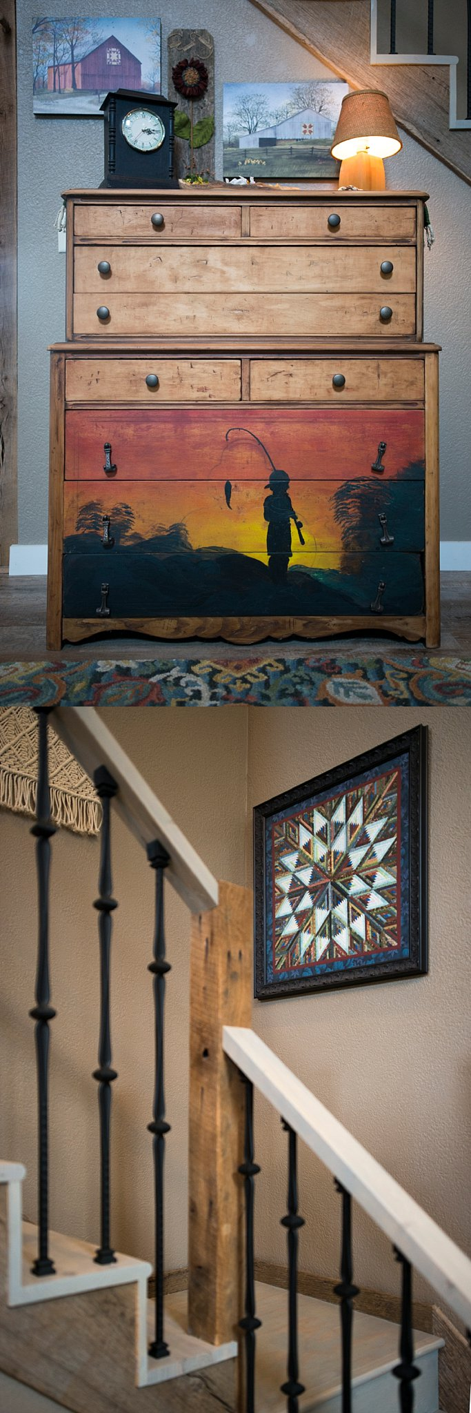 Top:  Virtually everything in this home tells a story.  Bottom:  These stairs lead up to the loft.  The quilt artwork on the wall was made by a friend.